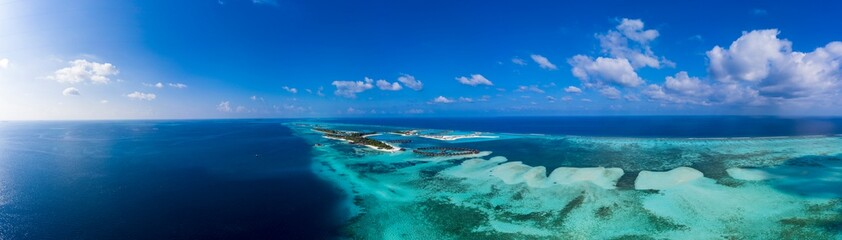 Aerial view,  island Olhuveli and Bodufinolhu, South Male Atoll, Maldives