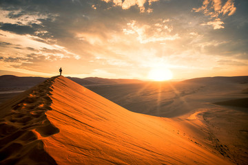 Dramatic sunrise in the Namibian desert