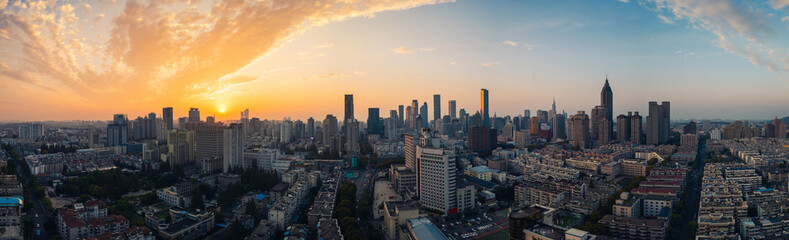 Panoramic View of Skyline of Nanjing City at Sunset