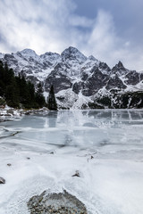 Winter at Sea Eye Lake or Morskie Oko near Zakopane in Poland
