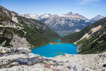 Viewpoint from the glacier at Joffre Lakes, British Columbia
