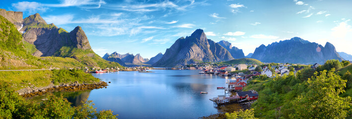 Panoramic view of Reine fishing village, Lofoten, Norway