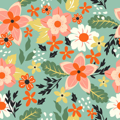Beautiful pink flower and leaf wallpaper on blue background seamless pattern cartoon vector