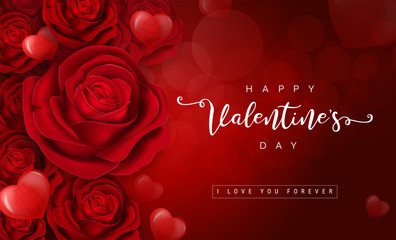 Valentine's day greeting card templates with realistic of beautiful red rose on background