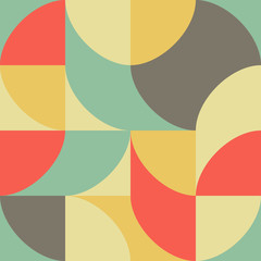 Geometric multicolored pattern of simple shapes. Minimalistic abstract background. Retro print for textiles and plastic. Backdrop for presentation.