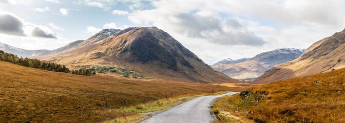 Panoramic view of road through Glen Etive near Glencoe Highlands Scotland