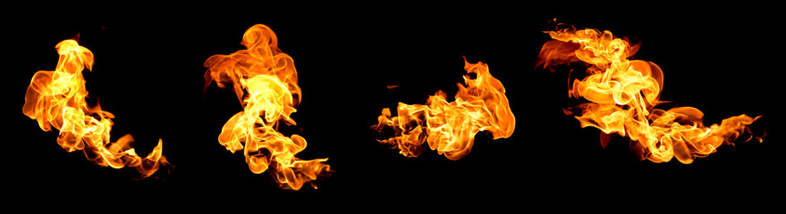 Red flame isolated on a black background