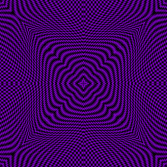 Abstract modern optical illusion style seamless pattern. Vector black and violet background. Textured repeat geometric backdrop. Ornamental radial design with effects. Geometry shapes, zigzag, waves