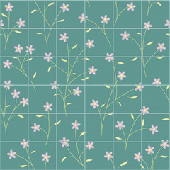 Purple flower and small branch seamless pattern bathroom tiles