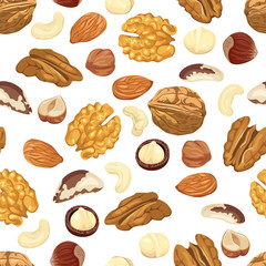 Seamless pattern with different nuts on a white background. Almond, walnut, pecan, macadamia, cashew, brazil nut and hazelnut. Vector illustration of organic healthy food in cartoon flat style.