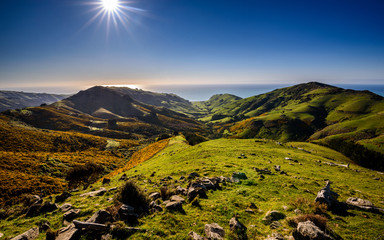 Scenic panorama view to beautiful wild nature of New Zealand. Sun shinning in summer day over wild highlands, valley and meadow.