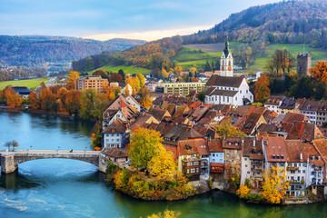 Laufenburg Old town on Rhine river, Switzerland