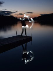 light painting, long exposure, abstract human figure