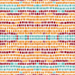 Yellow Abstract Stripe Vector Seamless Pattern. Brush Line Pattern. Red Mexican Watercolor Wallpaper. Scandinavian Simple Line Orange Wallpaper.