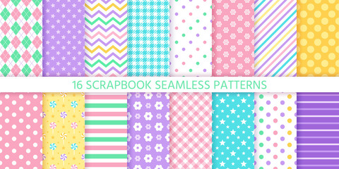 Scrapbook seamless pattern. Vector. Cute geometric background. Set textures with polka dot, stripe, zigzag, flower, star, check. Pastel illustration. Abstract retro print. Trendy color backdrop.