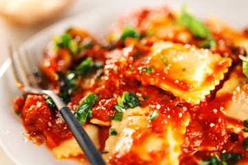 Closeup of tasty italian ravioli