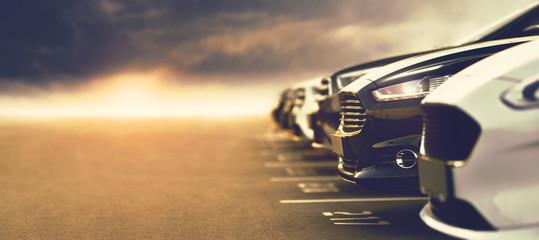 open-air car dealership with prestigious cars