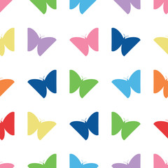 Simple multi color butterfly silhouette vector seamless pattern. Cute, multi color butterflies in a simple, versatile seamless pattern for clothing, textile, wallpaper and more.