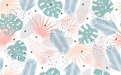 Vector Seamless Pattern with Tropical Leaves.