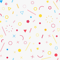 Cute seamless background. Memphis pattern. Flat concept. Fashion 80s-90s. Retro funky graphic. School geometric print illustration element. Repeat banner. Vector template. Minimalist color backdrop
