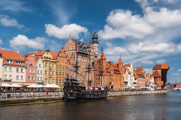 Cityscape of Gdansk old town on the river Motlawa, Poland