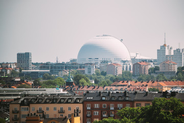 Stockholm, Sweden. Ericsson Globe In Summer Skyline. It's Currently The Largest Hemispherical Building In The World, Used For Major Concerts, Sport Events