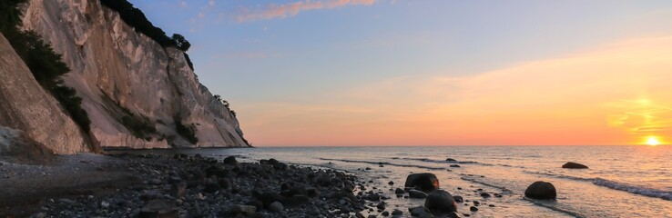 panoramic view to the famous chalk cliffs of the Danish island of Møns at dawn
