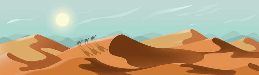 Desert landscape. Sunny nature panorama with camels. Bright summer day among endless sand dunes. Environment with no people. Vector peaceful banner