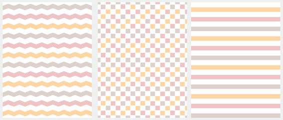 Pastel Color Seamless Geometric Vector Patterns. Pink, Beige and Yellow Grid, Stripes and Chevron Isolated on a White Background. Simple Abstract Vector Print for Fabric, Textile, Wrapping Paper.