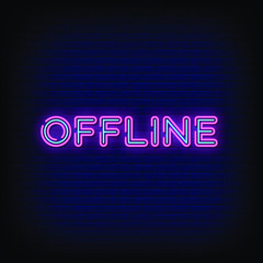 Offline Neon Signs Style Text Vector