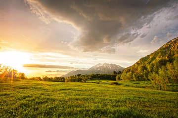 Golden sunset in the Wasatch Mountains, Utah, USA.