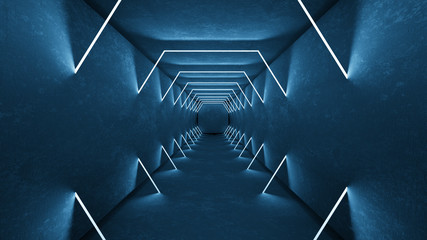 Night club interior lights 3d render for laser show. Glowing lines. Abstract fluorescent background. Neon room corridor background. Light abstract futuristic design. Modern geometric glow interior