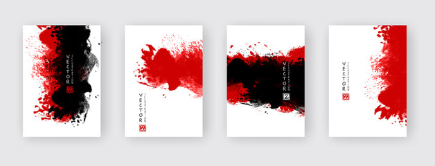 vector abstract black red ink brush stroke