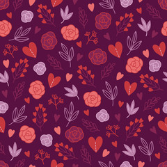 Valentine's Day seamless pattern with leaves, roses, hearts, herbs
