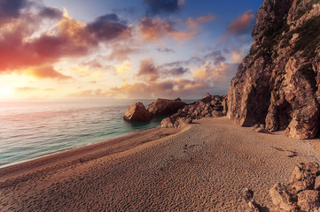 Awesome seascape during suunset. Beach, calm sea and colorful sky. Summer view of Kathisma Beach. Wonderful nature scene of Lefkada Island, Greece. Adventures and exotic travel concept.