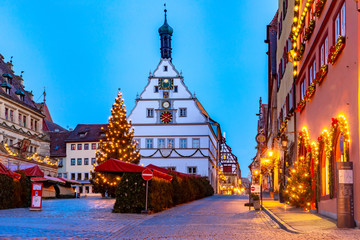 Decorated and illuminated Christmas street and Market square in medieval Old Town of Rothenburg ob der Tauber, Bavaria, southern Germany