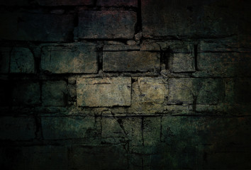 Dark modern background of grunge stone wall with mysterious scary atmosphere