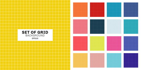 Set of white line grid striped geometric seamless pattern on multicolor background.