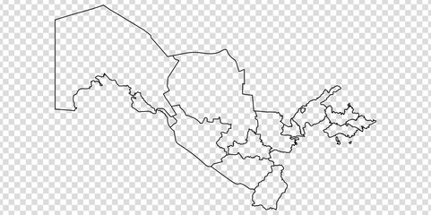 Blank map of  Uzbekistan. High quality map Republic of Uzbekistan with provinces on transparent background for your web site design, logo, app, UI. Asia. EPS10.