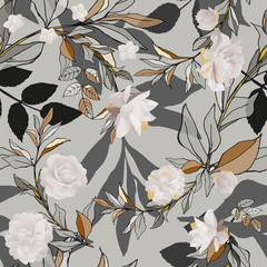 Seamless pattern with white roses and grey leaves on light background. Tropical flowers, lily. Vector illustration with plants. Gentle pastel colors.