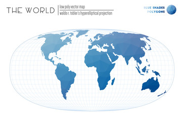 Polygonal world map. Waldo R. Tobler's hyperelliptical projection of the world. Blue Shades colored polygons. Creative vector illustration.