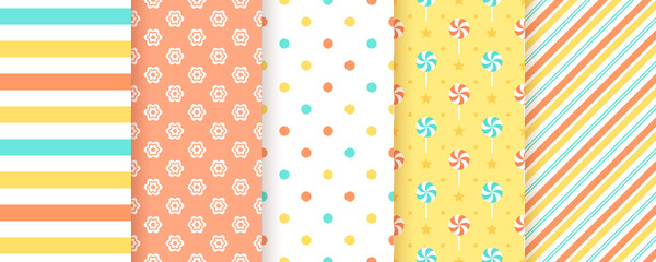 Scrapbook pattern. Seamless background. Vector. Cute print. Set textures with polka dots, stripe, flower and candy. Packing paper. Modern pastel illustration. Abstract geometric color backdrop.