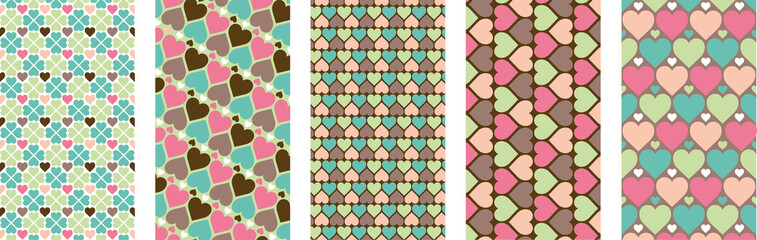 Set of hearts pattern for mobile, social media and websites. Valentines day. Vector pack.