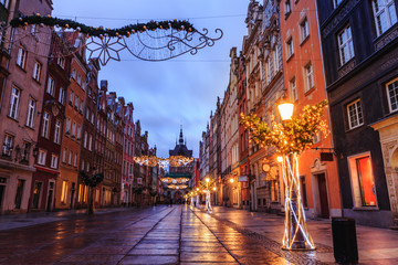 New Year's gate to the old city of Gdansk at sunrise
