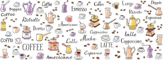 Coffee seamless pattern. Color drawings of cups, coffee pots and coffee grinders. Lettering latte, espresso, ristretto and americano. Ornament for wrappers, menus, wallpapers and cuisine