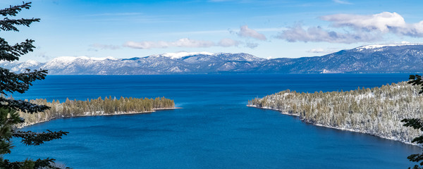 The Lake Tahoe in Nevada and California, panorama of the Emerald Bay in winter