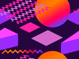 Memphis seamless pattern. Geometric elements memphis in the style of 80s with gradient shapes. Background for brochures, promotional material and wallpaper. Vector illustration
