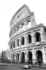 black and white photos of the ancient Colosseum of Rome