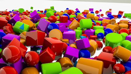 multi-colored simple three-dimensional figures on a white background. 3d render illustration