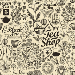 Vector seamless pattern on tea theme in retro style. Abstract background with hand-drawn herbs, kitchen items and inscriptions. Suitable for wallpaper, wrapping paper, fabric. Chinese hieroglyph Tea